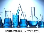 test tubes with blue liquid on... | Shutterstock . vector #97994594