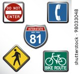 vector american road signs set