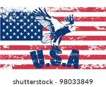 Usa American Grunge Flag With...