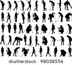vector silhouette of woman golf ... | Shutterstock . vector #98038556