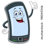 smart phone cartoon with thumb... | Shutterstock .eps vector #98045546