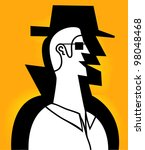 man with spy shadow in yellow... | Shutterstock .eps vector #98048468