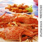 seafood plate with crab - stock photo