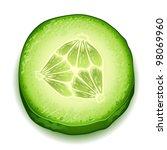 Fresh cucumber slice isolated on white background - stock vector