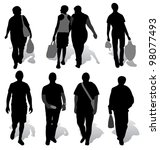 the silhouettes of a people... | Shutterstock .eps vector #98077493