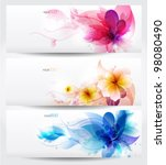 Stock vector flower vector background brochure template set of floral cards 98080490