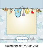 baby boy shower card | Shutterstock .eps vector #98084993