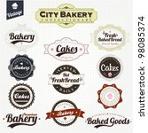 vintage retro bakery badges and ... | Shutterstock .eps vector #98085374