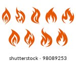 Fire Symbols Isolated On White...