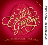 easter greetings hand lettering ... | Shutterstock .eps vector #98094269