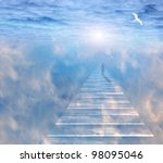 Figure On Path  In Serene Space