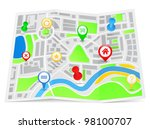 paper map with pointers  vector ... | Shutterstock .eps vector #98100707