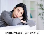 lonely sad woman deep in... | Shutterstock . vector #98105513