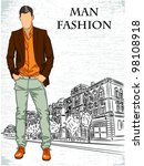 vector sketch of fashionable... | Shutterstock .eps vector #98108918