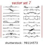 vector set 7  calligraphic... | Shutterstock .eps vector #98114573