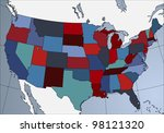colorful usa map in patriotic... | Shutterstock .eps vector #98121320