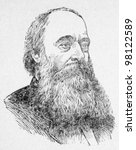 Small photo of USSR - CIRCA 1968: Illustration from the textbook Physics Course, published in the USSR shows Portrait of an English scientist, physicist James Joule (1818-1889), circa 1968