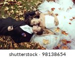 wedding theme  the bride and... | Shutterstock . vector #98138654