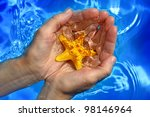 Protection of aquatic life, nature background - stock photo