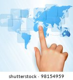 Finger Touching World Map On A...