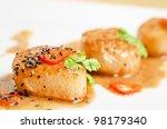 Close Up Scallop Seafood...
