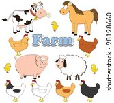 agriculture,animal,baby,background,beef,cartoon,cartoony,character,cheese,chicken,clipart,collection,color,colorful,comic
