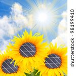 Alternative energy concept. The sunflowers with solar panels. - stock photo