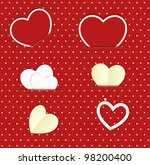 vector paper heart stickers set ...