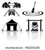 Set of black camping icons, illustration - stock vector