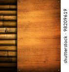 wood board with bamboo | Shutterstock . vector #98209619