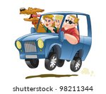 happy family traveling in a... | Shutterstock .eps vector #98211344