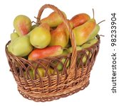 Pears In A Basket On White...