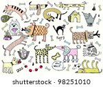 Funny Dogs Set  Colored Vector