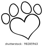 Outlined Love Paw Print. Vecto...