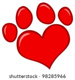 Love Paw Print. Vector...