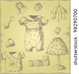 baby stuff   sketched vector... | Shutterstock .eps vector #98290700