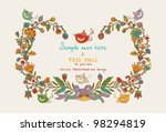 Flowers Decor Frame With Leafs...