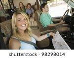 family in rv on summer road trip   Shutterstock . vector #98298014