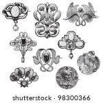 vintage brooches collection  ... | Shutterstock .eps vector #98300366