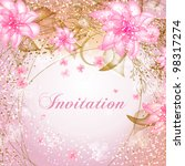 wedding card or invitation with ... | Shutterstock .eps vector #98317274
