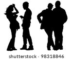 vector drawing of two couples | Shutterstock .eps vector #98318846