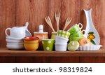 colorful ceramic kitchen... | Shutterstock . vector #98319824