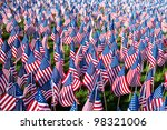 American Flags On Display For...