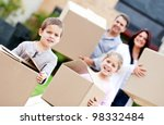 family moving home and carrying ...   Shutterstock . vector #98332484