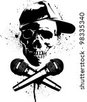 Skull And Microphones Stencil