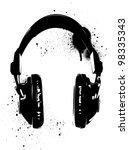 headphones stencil | Shutterstock .eps vector #98335343