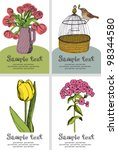 flowers and birds design card | Shutterstock .eps vector #98344580