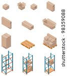 vector isometric boxes  pallets ... | Shutterstock .eps vector #98359088