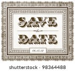 vector ornate save the date... | Shutterstock .eps vector #98364488