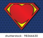 a big red heart shaped like a superhero shield, symbol for strong love, eps10 vector